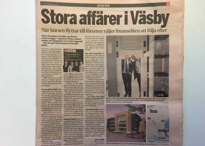 Sveriges nya finanscentrum ligger i Upplands Väsby